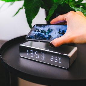 Digital alarm clock with Qi charger