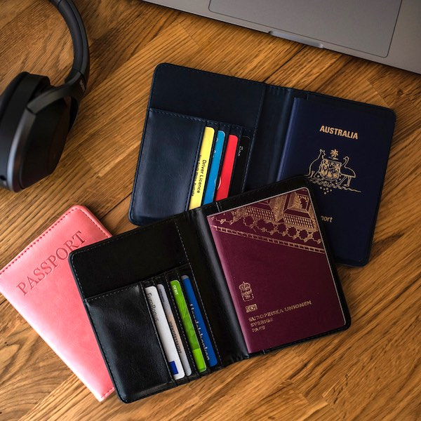 Passport holder in leather