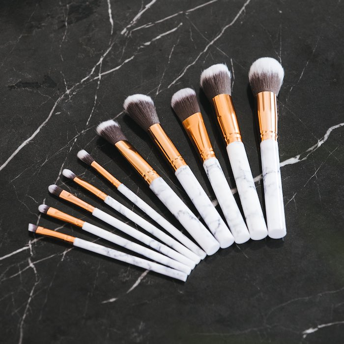 Make-up brushes in marble (10 pcs)