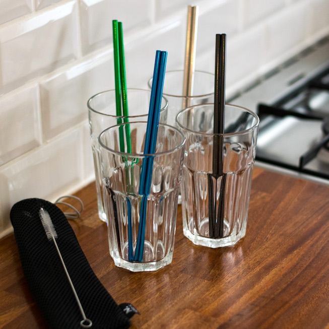 Straws in metal (4 pcs)